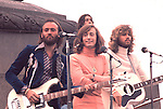 Bee Gees 1973 Maurice Gibb, Robin Gibb and Barry Gibb filming in Trafalgar Square