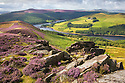 Derwent Edge, looking towards Ladybower Reservoir. Peak District National Park, Derbyshire, UK. August.