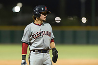 AZL Indians 2 shortstop Raynel Delgado (32) during an Arizona League game against the AZL Cubs 2 at Sloan Park on August 2, 2018 in Mesa, Arizona. The AZL Indians 2 defeated the AZL Cubs 2 by a score of 9-8. (Zachary Lucy/Four Seam Images)