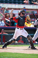 Erie Seawolves catcher Grayson Greiner (51) throws down to second during a game against the Altoona Curve on July 10, 2016 at Jerry Uht Park in Erie, Pennsylvania.  Altoona defeated Erie 7-3.  (Mike Janes/Four Seam Images)