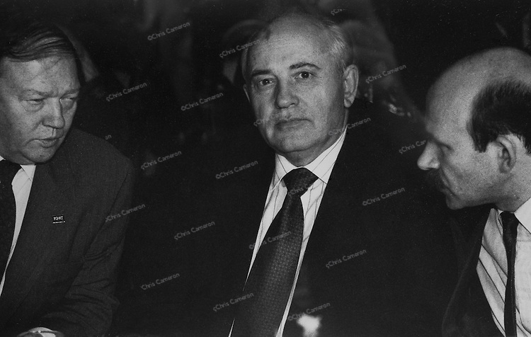 Mikhail Gorbachev  in conversation with John Fraser, left, and his interpreter, Vancouver, 1993