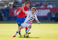 CARSON, CA - FEBRUARY 1: Brenden Aaronson #8 of the United States battles David Guzman #20 of Costa Rica during a game between Costa Rica and USMNT at Dignity Health Sports Park on February 1, 2020 in Carson, California.