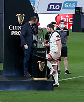 Saturday 12th September 2020 | PRO14 Final - Leinster vs Ulster<br /> <br /> Iain Henderson receives his runners-up medal from Ulster Rugby CEO Jonny Petrie after the Guinness PRO14 Final between Leinster ands Ulster at the Aviva Stadium, Lansdowne Road, Dublin, Ireland. Photo by John Dickson / Dicksondigital