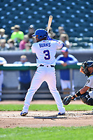 Tennessee Smokies left fielder Charcer Burks (3) awaits a pitch during a game against the Jackson Generals at Smokies Stadium on April 11, 2018 in Kodak, Tennessee. The Generals defeated the Smokies 6-4. (Tony Farlow/Four Seam Images)