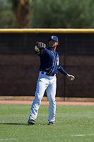 San Diego Padres outfielder Mason House (58) prepares to throw a ball to second base during an Instructional League game against the Texas Rangers on September 20, 2017 at Peoria Sports Complex in Peoria, Arizona. (Zachary Lucy/Four Seam Images)