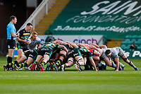13th March 2021; Franklin's Gardens, Northampton, East Midlands, England; Premiership Rugby Union, Northampton Saints versus Sale Sharks; A general view of a scrum as Tom James of Northampton Saints waits to put the ball in