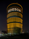 The Gasometer of the formerly Hoesch smeltery is illumintated during the event Orange your City on the International Day against Violence against Women and Girls
