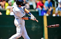 15 July 2010: Vermont Lake Monsters' infielder Jason Martinson gets a broken bat single against the Aberdeen IronBirds at Centennial Field in Burlington, Vermont. The Lake Monsters rallied in the bottom of the 9th inning to defeat the IronBirds 7-6 notching their league leading 20th win of the 2010 NY Penn League season. Mandatory Credit: Ed Wolfstein Photo