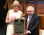 """Scenes from the National Museum of Racing Hall of Fame ceremony (Claude """"Shug"""" McGaughey) on August 03, 2018 at the Fasig-Tipton Sales Pavilion in Saratoga Springs, New York. (Bob Mayberger/Eclipse Sportswire)"""