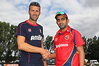 New Essex CCC signing and India batsman Gautam Gambhir (R) is welcomed by head coach Paul Grayson - Press Event at Castle Park, Colchester Cricket Club, Colchester, Essex - 19/08/13 - MANDATORY CREDIT: Gavin Ellis/TGSPHOTO - Self billing applies where appropriate - 0845 094 6026 - contact@tgsphoto.co.uk - NO UNPAID USE