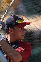 OAKLAND, CA - JULY 30:  Danny Valencia #19 of the Minnesota Twins takes batting practice before the game against the Oakland Athletics at the Oakland-Alameda County Coliseum on July 30, 2011 in Oakland, California. Photo by Brad Mangin