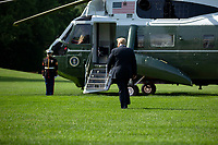 United States President Donald J. Trump walks to Marine One on the South Lawn of the White House in Washington D.C., U.S., as he departs for Yuma, Arizona on Tuesday, June 23, 2020.  Trump stated that he authorized the Federal government to arrest any demonstrator caught vandalizing U.S. monuments, with a punishment of up to 10 years in prison.  Credit: Stefani Reynolds / CNP/AdMedia