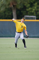 Pittsburgh Pirates Ryan Peurifoy (14) throws back to the infield during an Instructional League intrasquad black and gold game on October 3, 2017 at Pirate City in Bradenton, Florida.  (Mike Janes/Four Seam Images)