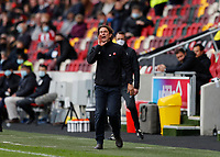 22nd May 2021; Brentford Community Stadium, London, England; English Football League Championship Football, Playoff, Brentford FC versus Bournemouth; Brentford Manager Thomas Frank shouting instructions to his players from the touchline