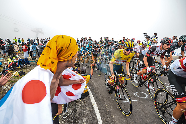 Yellow Jersey Tadej Pogacar (SLO) UAE Team Emirates amongst the peloton climbs Col du Tourmalet during Stage 18 of the 2021 Tour de France, running 129.7km from Pau to Luz Ardiden, France. 15th July 2021.  <br /> Picture: A.S.O./Charly Lopez | Cyclefile<br /> <br /> All photos usage must carry mandatory copyright credit (© Cyclefile | A.S.O./Charly Lopez)