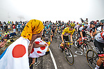 Yellow Jersey Tadej Pogacar (SLO) UAE Team Emirates amongst the peloton climbs Col du Tourmalet during Stage 18 of the 2021 Tour de France, running 129.7km from Pau to Luz Ardiden, France. 15th July 2021.  <br /> Picture: A.S.O./Charly Lopez   Cyclefile<br /> <br /> All photos usage must carry mandatory copyright credit (© Cyclefile   A.S.O./Charly Lopez)