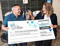 """Pictured: (L-R) Richard Davies and  Faye Stevenson who won the £1 EuroMillions in Talgarth near Brecon, Wales, UK.<br /> Re: A Brecon hairdresser whose car broke down on his way to claim his £1 million EuroMillions UK Millionaire Maker prize, has bought AA membership as one of his first post-win purchases.<br /> Time was also of the essence when winner Richard Davies, who has owned Chop and Change salon in Talgarth for 14 years, dashed out to buy his EuroMillions ticket with just four minutes to spare before the draw closed on Friday, 1 June. <br /> And now after 10 years as a couple, he and partner Faye Stevenson are planning on splashing out on their first holiday together, after matching one of that night's EuroMillions UK Millionaire Maker codes to scoop the life-changing amount. <br /> Nurse Faye, and Richard, 41, both have hectic work schedules. He said: """"I had forgotten to buy my ticket and, as ever, Friday had been frantic in the salon!"""