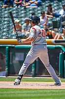 Matt McBride (20) of the Albuquerque Isotopes at bat against the Salt Lake Bees in Pacific Coast League action at Smith's Ballpark on June 28, 2015 in Salt Lake City, Utah. The Isotopes defeated the Bees 8-3. (Stephen Smith/Four Seam Images)