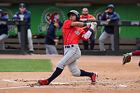 Cedar Rapids Kernels designated hitter Jeferson Morales (13) swings at a pitch during a game against the Wisconsin Timber Rattlers on September 8, 2021 at Neuroscience Group Field at Fox Cities Stadium in Grand Chute, Wisconsin.  (Brad Krause/Four Seam Images)