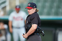 Home plate umpire Jennifer Pawol prior to the South Atlantic League game between the Rome Braves and the Kannapolis Intimidators at Kannapolis Intimidators Stadium on July 2, 2019 in Kannapolis, North Carolina.  The Intimidators walked-off the Braves 5-4. (Brian Westerholt/Four Seam Images)