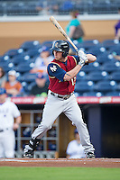 Slade Heathcott (12) of the Scranton/Wilkes-Barre RailRiders at bat against the Durham Bulls at Durham Bulls Athletic Park on May 15, 2015 in Durham, North Carolina.  The RailRiders defeated the Bulls 8-4 in 11 innings.  (Brian Westerholt/Four Seam Images)