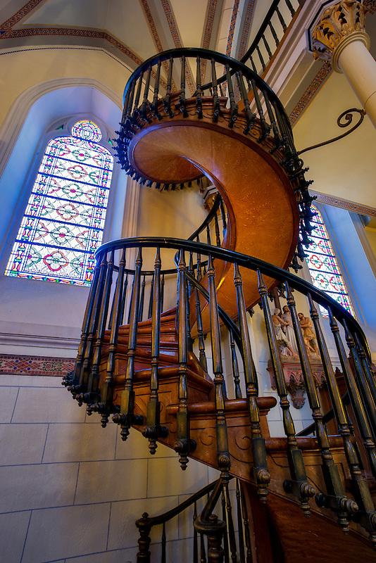 Spiral Staircase in Loretto Chapel. Santa Fe, New Mexico