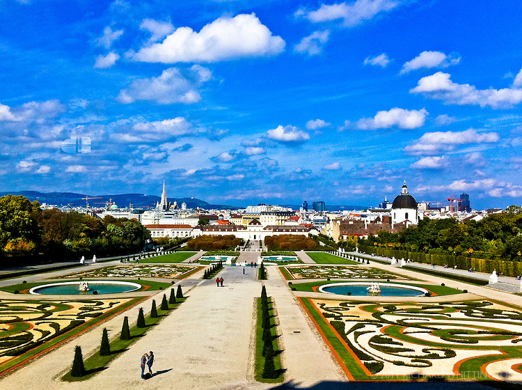 A grand view of the gardens and the city from the Upper Belvedere, the Summer Palace of Prince Eugene of Savoy. Prince Eugene, a French soldier, was unable to get the appointment he wanted with the French king so he fought the Ottoman Turks for the Habsburgs and became one of the most successful soldiers in European history. Napoleon thought Eugene was a military genius.