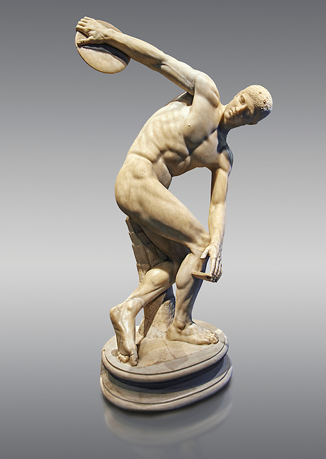 Roman sculpture of a Discus Thrower, Paros marble made in the mid 2nd cent AD excavated from the Villa Palombara, Esquilino, Rome. The Disus Thrower statue is almost the only fully preserved example of its type, the statue is a faithful copy of one of the most admired works of antiquity; the bronze discobolus by Greek sculptor Myron circa 450 BC. The statue depicts the moment preceding the release of the discus, the athlete appears to move in the surrounding space with a complex action, exemplifying the Hellenistic experimentation of the plastic reprentation of the human body. Inv 126371, The National Roman Museum, Rome, Italy