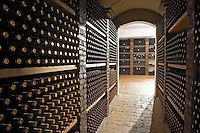 Bottles aging in the cellar. Wine Art Estate Winery, Microchori, Drama, Macedonia, Greece