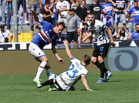 12th September 2021; G.Ferraris Stadium, Genoa, Italy; Serie A football, Sampdoria versus Inter Milan; Morten Thorsby of Sampdoria  is slide tackled by Nicolo Barella of Inter