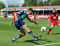 Luke O'Niel of Wycombe Wanderers crosses the ball during the Sky Bet League 2 match between Crawley Town and Wycombe Wanderers at Broadfield Stadium, Crawley, England on 6 August 2016. Photo by Alan  Stanford / PRiME Media Images.