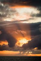 Shafts of light of setting sun, West Coast, South Westland, UNESCO World Heritage Area, New Zealand, NZ