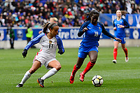 Harrison, NJ - Sunday March 04, 2018: Mallory Pugh, Viviane Asseyi during a 2018 SheBelieves Cup match match between the women's national teams of the United States (USA) and France (FRA) at Red Bull Arena.