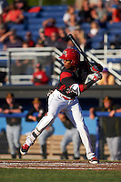 Batavia Muckdogs catcher Pablo Garcia (7) at bat during a game against the West Virginia Black Bears on June 29, 2016 at Dwyer Stadium in Batavia, New York.  West Virginia defeated Batavia 9-4.  (Mike Janes/Four Seam Images)