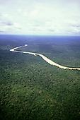 Rio Branco, Brazil. Aerial view of river twisting through unbroken rainforest. Roraima State, Amazon.