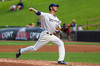 Wisconsin Timber Rattlers pitcher Scott Grist (34) delivers a pitch during a Midwest League game against the Lake County Captains on July 24, 2016 at Fox Cities Stadium in Appleton, Wisconsin. Lake County defeated Wisconsin 6-2. (Brad Krause/Four Seam Images)