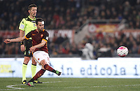 Calcio, Serie A: Roma vs Inter. Roma, stadio Olimpico, 19 marzo 2016.<br /> Roma's Miralem Pjanic kicks a free kick during the Italian Serie A football match between Roma and FC Inter at Rome's Olympic stadium, 19 March 2016. The game ended 1-1.<br /> UPDATE IMAGES PRESS/Isabella Bonotto