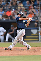 Columbia Fireflies second baseman Vinny Siena (9) swings at a pitch during a game against the Asheville Tourists at McCormick Field on June 17, 2016 in Asheville, North Carolina. The Tourists defeated the Fireflies 6-2. (Tony Farlow/Four Seam Images)