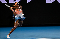 11th February 2021, Melbourne, Victoria, Australia; Coco Gauff of the United States of America returns the ball during round 2 of the 2021 Australian Open on February 11 2020, at Melbourne Park in Melbourne, Australia.