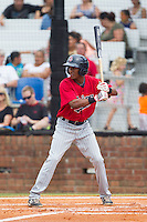 Jonatan Hinojosa (7) of the Elizabethton Twins at bat against the Johnson City Cardinals at Cardinal Park on July 27, 2014 in Johnson City, Tennessee.  The game was suspended in the top of the 5th inning with the Twins leading the Cardinals 7-6.  (Brian Westerholt/Four Seam Images)