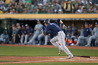 OAKLAND, CA - OCTOBER 02:  Matt Duffy #5 of the Tampa Bay Rays bats against the Oakland Athletics during the American League Wild Card Game at RingCentral Coliseum on Wednesday, October 2, 2019 in Oakland, California. (Photo by Brad Mangin)