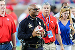 Dallas Police Chief, David Brown, in action before the game between the TCU Horned Frogs and the SMU Mustangs at the Gerald J. Ford Stadium in Dallas, Texas.