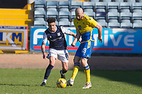 3rd April 2021; Dens Park, Dundee, Scotland; Scottish FA Cup Football, Dundee FC versus St Johnstone; Shaun Rooney of St Johnstone and Declan McDaid of Dundee