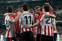 Athletic de Bilbao's players celebrate goal during La Liga match. April 18,2018.  *** Local Caption *** © pixathlon