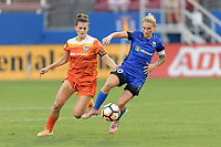 Frisco, TX - Sunday September 03, 2017: Cari Roccaro and Jess Fishlock during a regular season National Women's Soccer League (NWSL) match between the Houston Dash and the Seattle Reign FC at Toyota Stadium in Frisco Texas. The match was moved to Toyota Stadium in Frisco Texas due to Hurricane Harvey hitting Houston Texas.