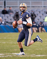 Pitt quarterback Nate Peterman. The Pitt Panthers football team defeated the Louisville Cardinals 45-34 on Saturday, November 21, 2015 at Heinz Field, Pittsburgh, Pennsylvania.