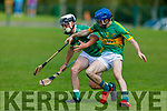 Lixnaws Brian McAulliffe and Kevin Goulding of Ballyduff tussle for possession in the NK Hurling Championship game on Monday.
