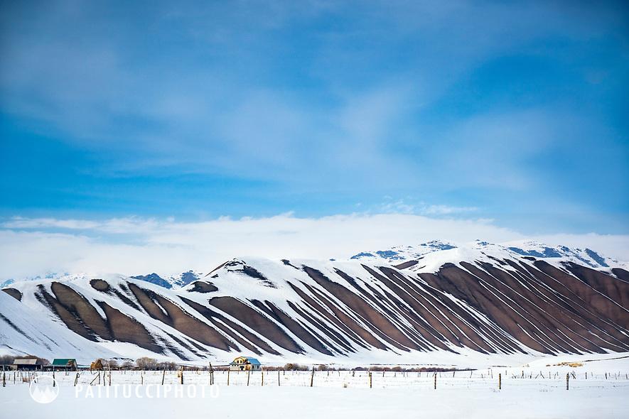 The winter landscape of Suusamyr, Kyrgyzstan