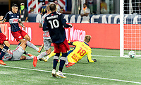 FOXBOROUGH, MA - AUGUST 29: Gustavo Bou #7 of New England Revolution scores a goal during a game between New York Red Bulls and New England Revolution at Gillette Stadium on August 29, 2020 in Foxborough, Massachusetts.