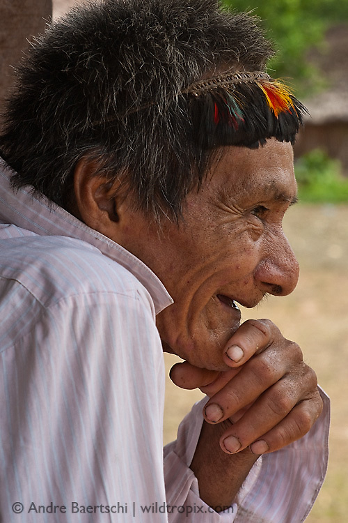 Machiguenga shaman Mariano, a native Indian from Tayakome, lowland tropical rainforest, Manu National Park, Madre de Dios, Peru.